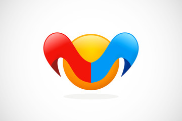 M unusual loop abstract color logo vector