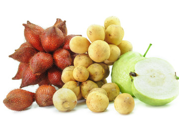 Group of fruits on white background