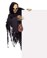 Grim Reaper pointing at a blank panel