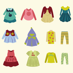 collection of  children's clothing - Illustration