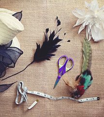 Deconstructed millinery materials and tools