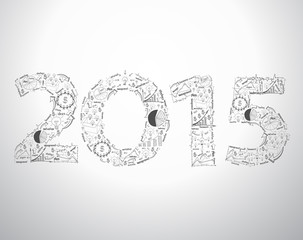 BNew year 2015 text design with creative drawing business succes