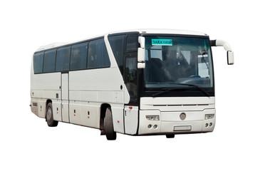 Заказной междугородний автобус на белом фоне