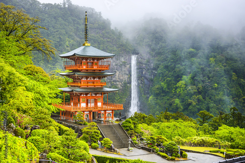 Leinwanddruck Bild Nachi, Japan Pagoda and Waterfall