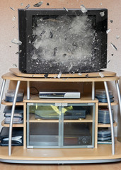 Explosion of TV in the room
