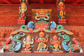 Hindu deities at the entrance panel of the Shree Kumari shrine