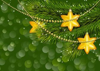 рождественские звезды на фоне веток ели