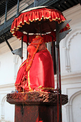 Hanuman painted in red at Hanuman Dhoka