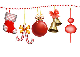 рождественские украшения на веревочке