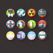 Textured Flat Icons for mobile and web applications Set 3