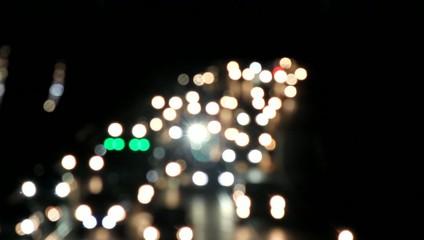 Night city lights and traffic