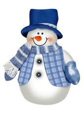 рождественский снеговик в синей одежеде