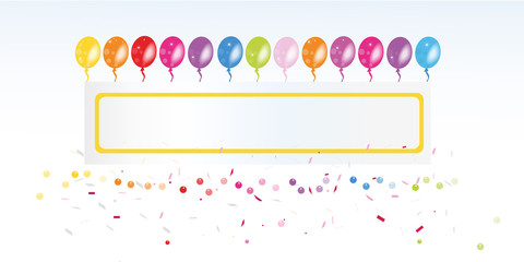 Colorful balloon banner and confetti vector