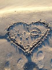 Love heart on the beach