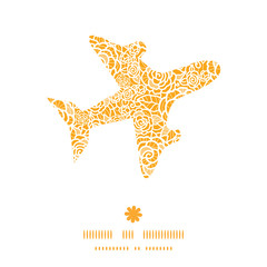 Vector golden lace roses airplane silhouette pattern frame