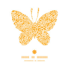 Vector golden lace roses butterfly silhouette pattern frame