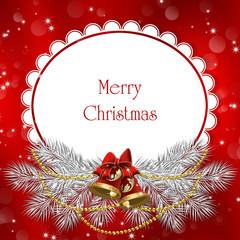 рождественское поздравление с ветками ели и колокольчиками