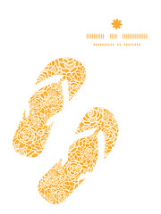 Vector golden lace roses flip flops silhouettes pattern frame
