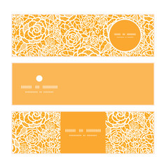 Vector golden lace roses horizontal banners set pattern