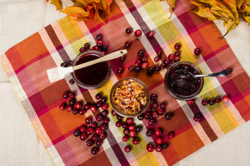 Overhead of cranberry sauce with cranberries