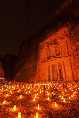 Al Khazneh in the Edomite city of Petra, Jordan at night