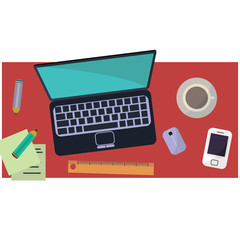 Workplace of freelancer in flat style