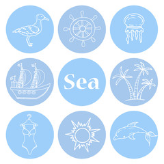 Vector illustration with symbols of the sea