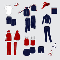 set of women's and men's clothing. Red and blue costumes everyda