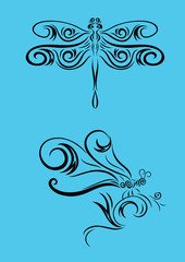 Dragonfly ornament, art vector decoration