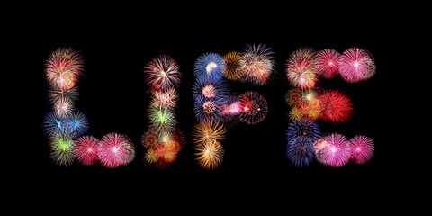 Life word text colorful fireworks