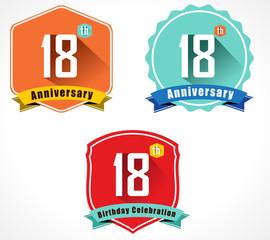18 year birthday celebration flat color vintage label badge