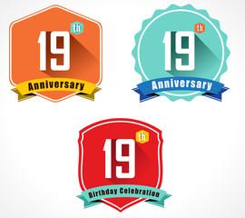19 year birthday celebration flat color vintage label badge
