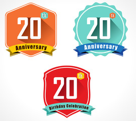 20 year birthday celebration flat color vintage label badge