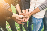 Multiracial Group of Friends with Hands in Stack, Teamwork - 74119053