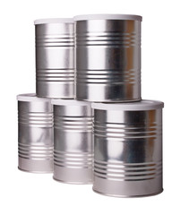 Five metal cans.