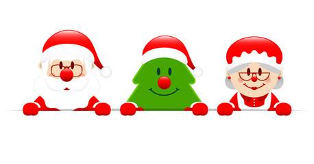 Santa, Tree & Mrs. Santa Banner
