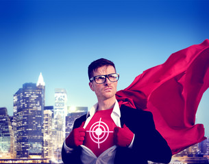 Target Strong Superhero Success Empowerment Stock Concept