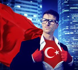 Businessman Superhero Country Turkey Flag Culture Power Concept