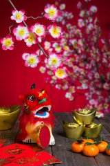 chinese new year lion and decorations