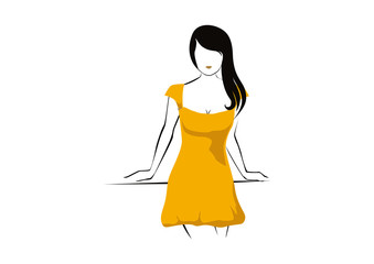 Sketch woman fashion models vector