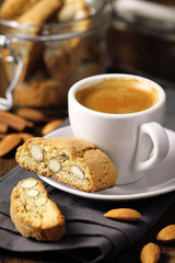 Good morning concept - espresso coffee with almond cantuccini