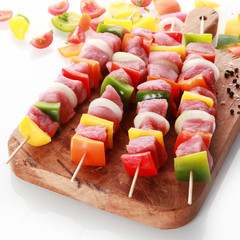 Beautifully presented meat and vegetable kebabs