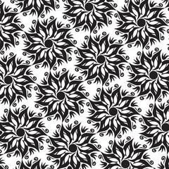Fond Motif Fleurs Mandalas Composition en Noir / Blanc