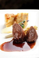 Venison meat steak with Quiche pie, Port sauce, herbs and Potato