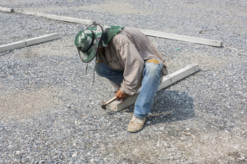 builder man working with hammer