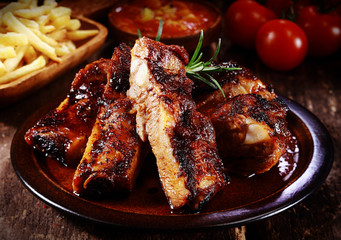 Plate of spicy marinated grilled spare ribs