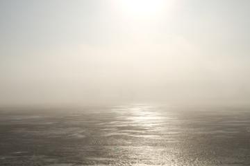 Frozen lake and sunlight
