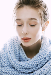 beauty young blond woman in scarf with weathered lips close up
