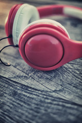 Headphones on a wooden table