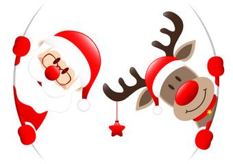 Santa & Rudolph Star Round Banner